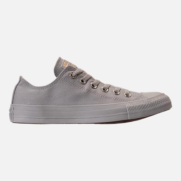 Right view of Women's Converse Chuck Taylor Ox Casual Shoes in Pale Grey/Pale Grey/Gold