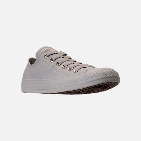 Three Quarter view of Women's Converse Chuck Taylor Ox Casual Shoes in Pale Grey/Pale Grey/Gold