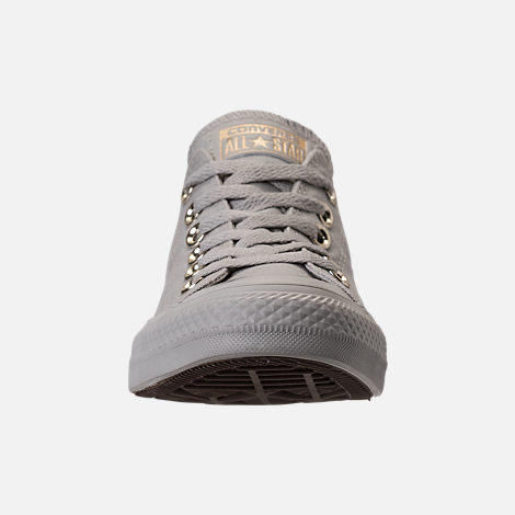 Front view of Women's Converse Chuck Taylor Ox Casual Shoes in Pale Grey/Pale Grey/Gold