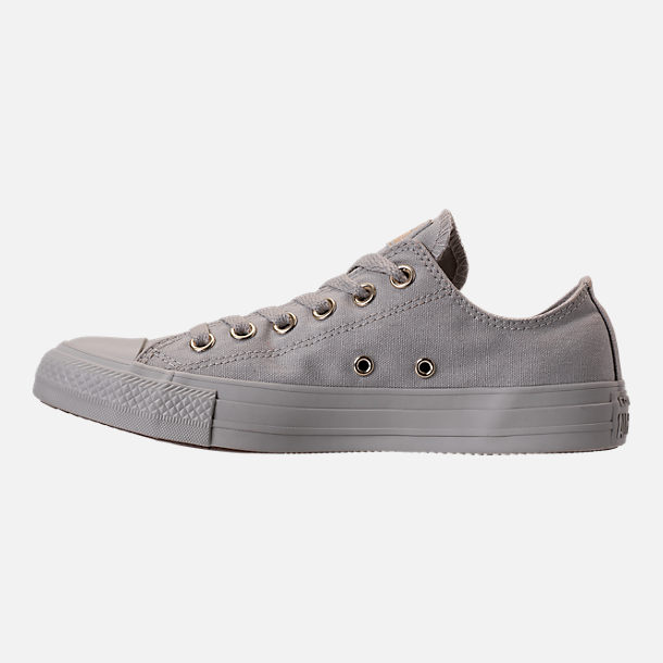 Left view of Women's Converse Chuck Taylor Ox Casual Shoes in Pale Grey/Pale Grey/Gold