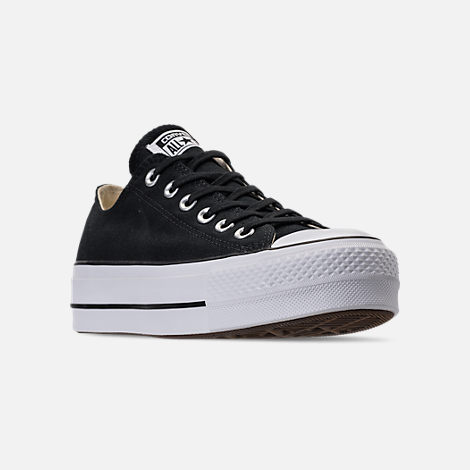 Three Quarter view of Women's Converse Chuck Taylor All Star Lift Low Casual Shoes in Black