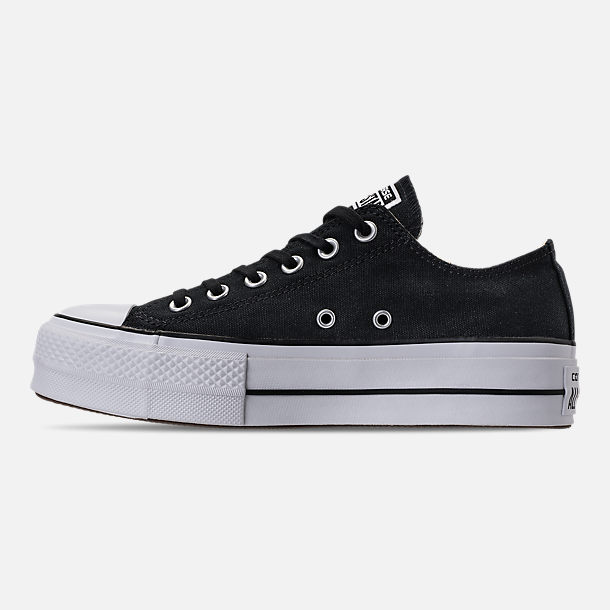 Left view of Women's Converse Chuck Taylor All Star Lift Low Casual Shoes in Black