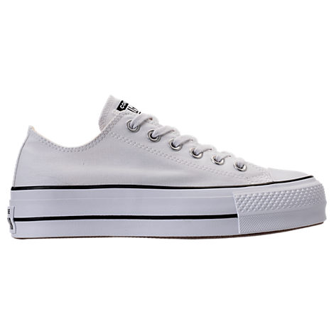Women'S Chuck Taylor All Star Lift Low Casual Shoes, White, White/ Black/ White