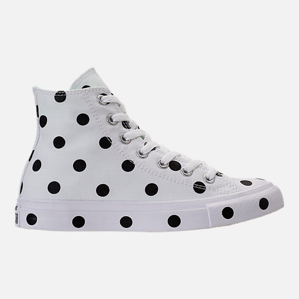 Right view of Women's Converse Chuck Taylor High Top Polka Dot Casual Shoes in White/Black