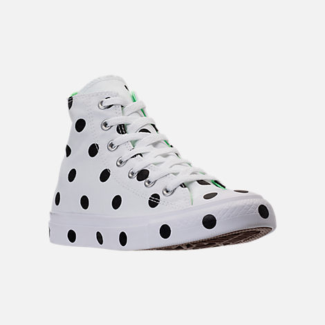 Three Quarter view of Women's Converse Chuck Taylor High Top Polka Dot Casual Shoes in White/Black