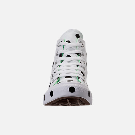 Front view of Women's Converse Chuck Taylor High Top Polka Dot Casual Shoes in White/Black
