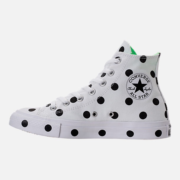 Left view of Women's Converse Chuck Taylor High Top Polka Dot Casual Shoes in White/Black