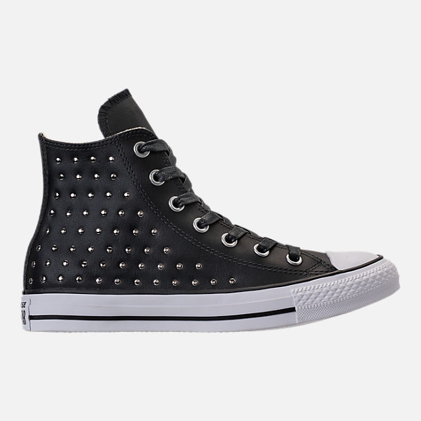 Right view of Women's Converse Chuck Taylor High Top Stud Casual Shoes in Converse Black