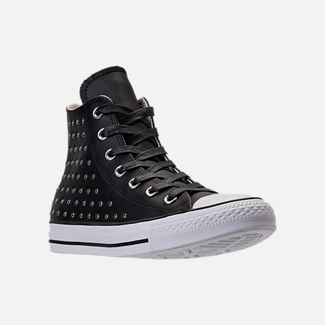 Three Quarter view of Women's Converse Chuck Taylor High Top Stud Casual Shoes in Converse Black
