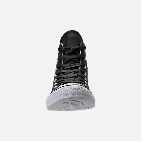 Front view of Women's Converse Chuck Taylor High Top Stud Casual Shoes in Converse Black