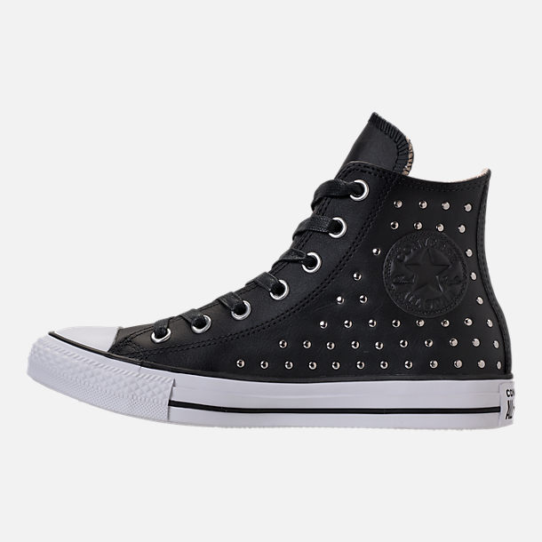 Left view of Women's Converse Chuck Taylor High Top Stud Casual Shoes in Converse Black
