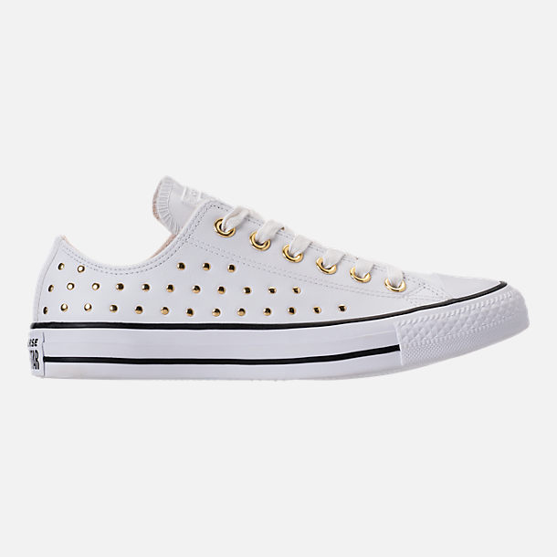 Right view of Women's Converse Chuck Taylor Ox Stud Casual Shoes in White