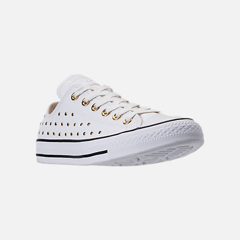 Three Quarter view of Women's Converse Chuck Taylor Ox Stud Casual Shoes in White