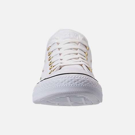 Front view of Women's Converse Chuck Taylor Ox Stud Casual Shoes in White