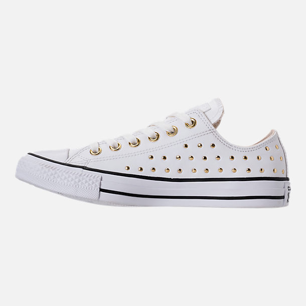 Left view of Women's Converse Chuck Taylor Ox Stud Casual Shoes in White