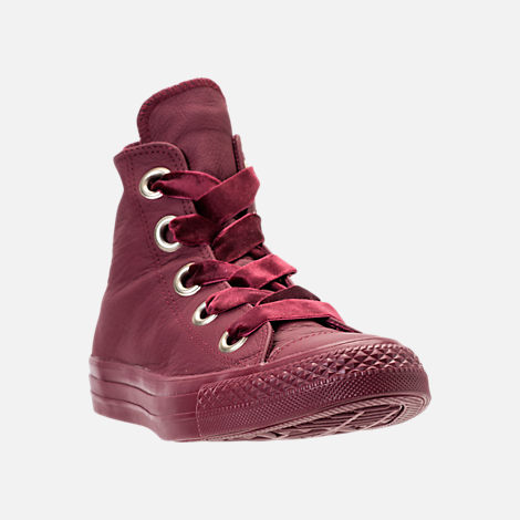 Three Quarter view of Women's Converse Chuck Taylor Big Eyelets High Top Casual Shoes in Dark Burgundy