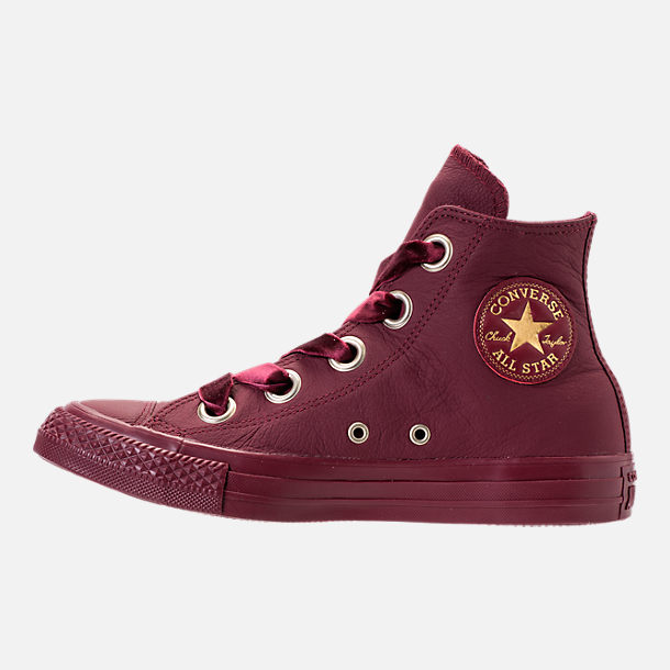 Left view of Women's Converse Chuck Taylor Big Eyelets High Top Casual Shoes in Dark Burgundy