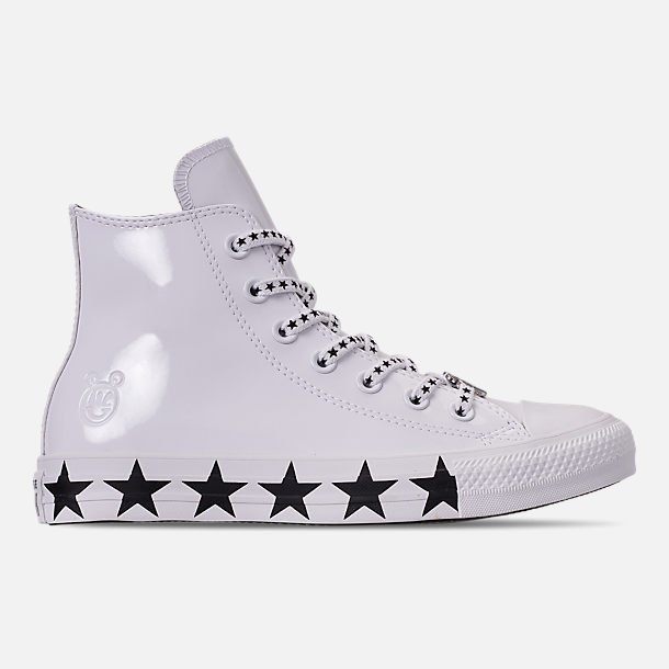 Right view of Women's Converse x Miley Cyrus Chuck Taylor High Top Casual Shoes in White