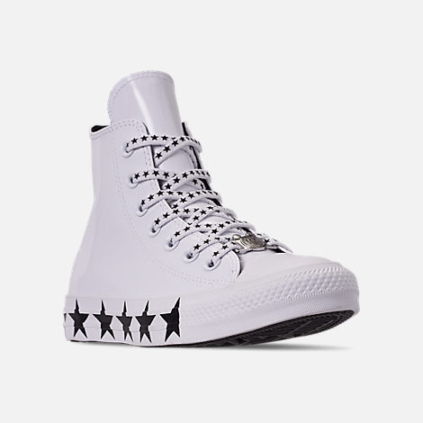 Three Quarter view of Women's Converse x Miley Cyrus Chuck Taylor High Top Casual Shoes in White