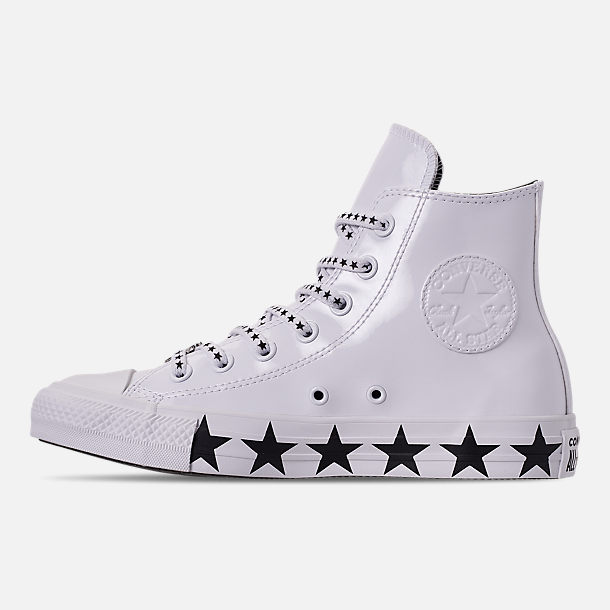 Left view of Women's Converse x Miley Cyrus Chuck Taylor High Top Casual Shoes in White