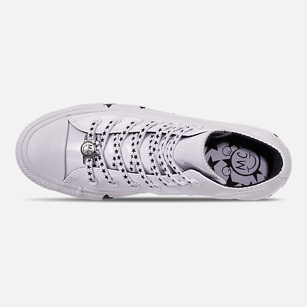 Top view of Women s Converse x Miley Cyrus Chuck Taylor High Top Casual  Shoes in White c3e69c697