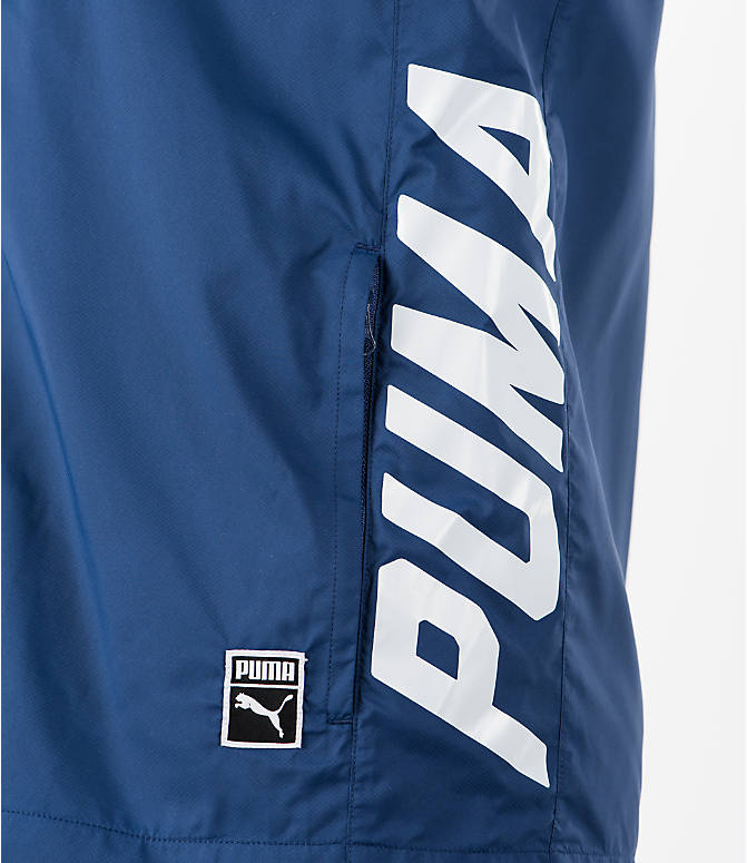 Detail 1 view of Men's Puma Colorblock Sleeveless Hoodie in Blue
