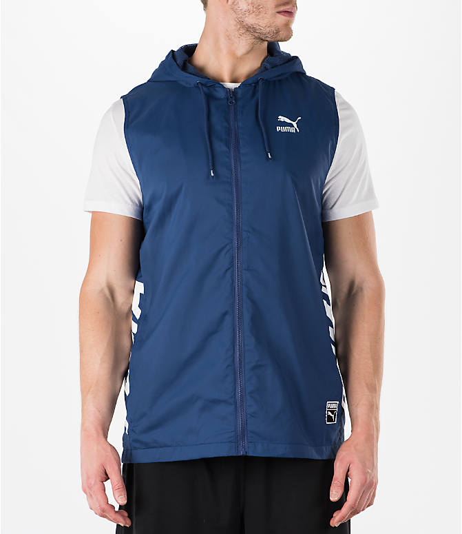 Front view of Men's Puma Colorblock Sleeveless Hoodie in Blue