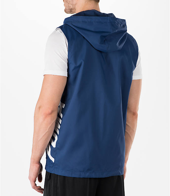 Back Left view of Men's Puma Colorblock Sleeveless Hoodie in Blue