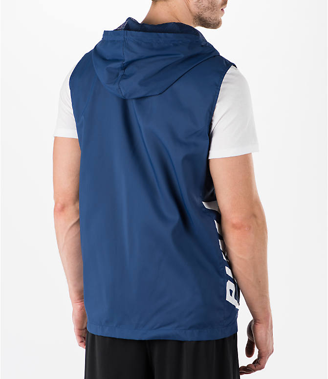 Back Right view of Men's Puma Colorblock Sleeveless Hoodie in Blue