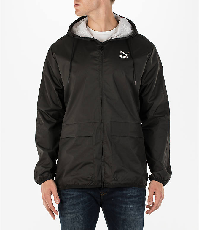 Front view of Men's Puma Archive Windbreaker Jacket in Black