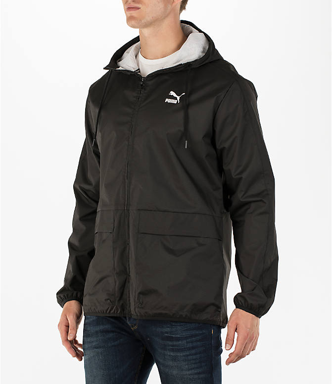 Front Three Quarter view of Men's Puma Archive Windbreaker Jacket in Black