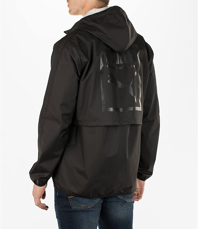 Back Left view of Men's Puma Archive Windbreaker Jacket in Black