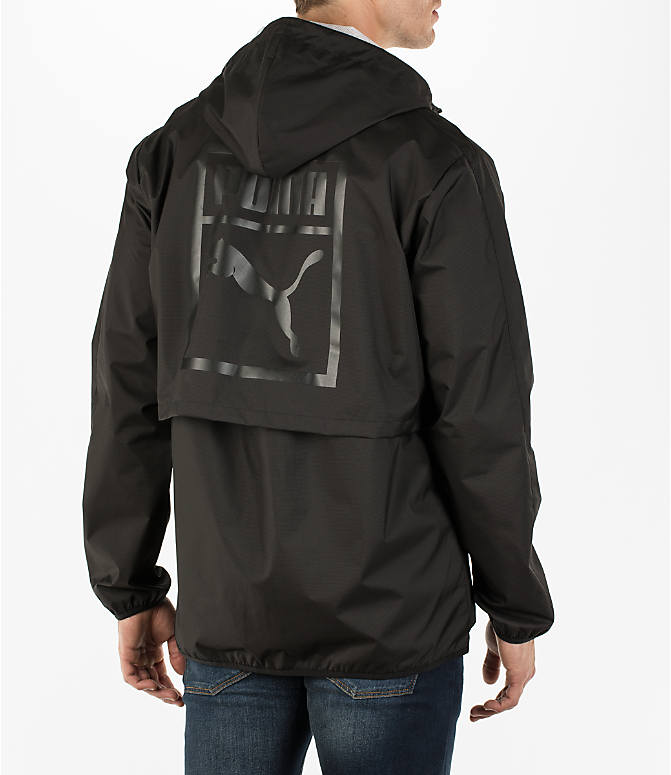 Back Right view of Men's Puma Archive Windbreaker Jacket in Black