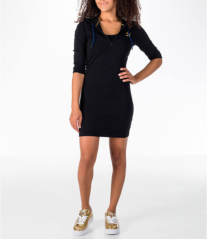 Front view of Women's Puma T7 Hooded Dress in Black/Gold