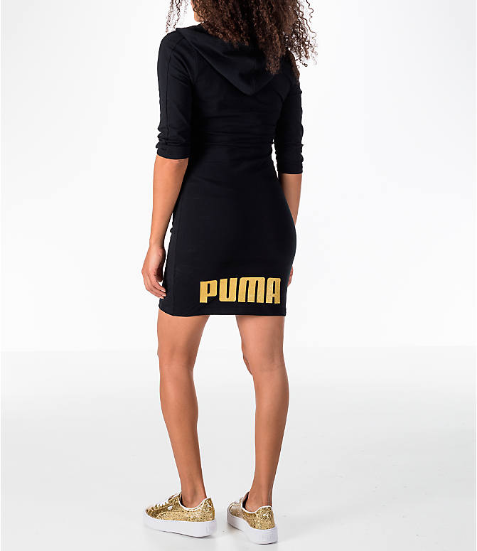Back Left view of Women's Puma T7 Hooded Dress in Black/Gold