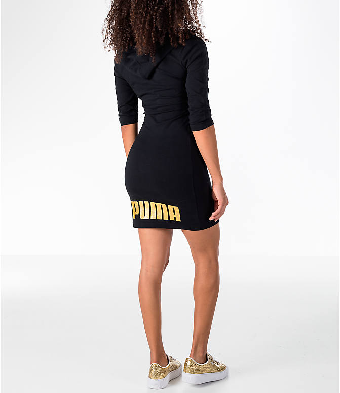 Back Right view of Women's Puma T7 Hooded Dress in Black/Gold
