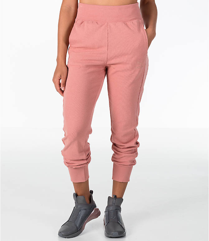 Front view of Women's Puma T7 Track Pants in Cameo Brown