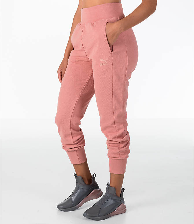 Front Three Quarter view of Women's Puma T7 Track Pants in Cameo Brown