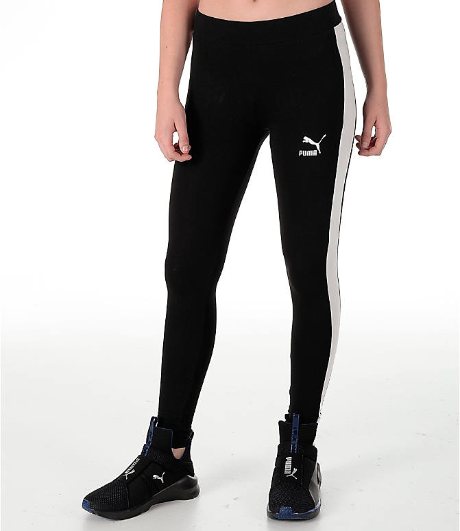 Front view of Women's Puma T7 Leggings in Black/White