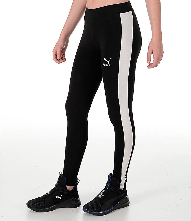 Front Three Quarter view of Women's Puma T7 Leggings in Black/White