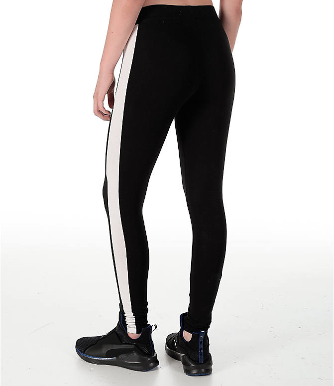 Back Left view of Women's Puma T7 Leggings in Black/White