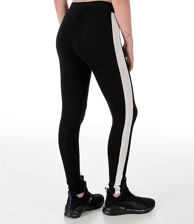 Back Right view of Women's Puma T7 Leggings in Black/White