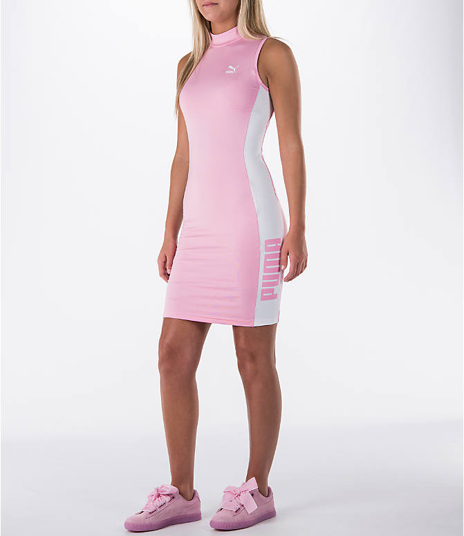 Front Three Quarter view of Women's Puma T7 Bodycon Dress