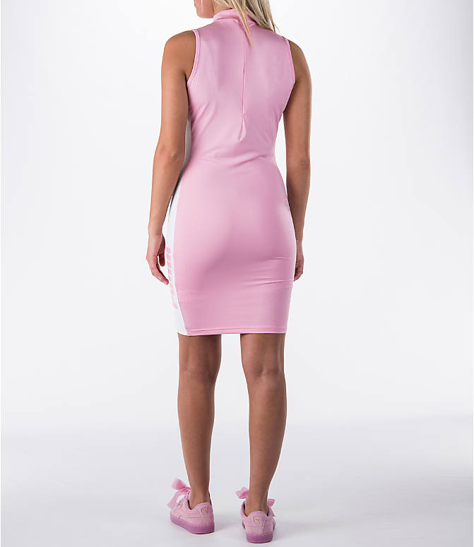 Back Left view of Women's Puma T7 Bodycon Dress