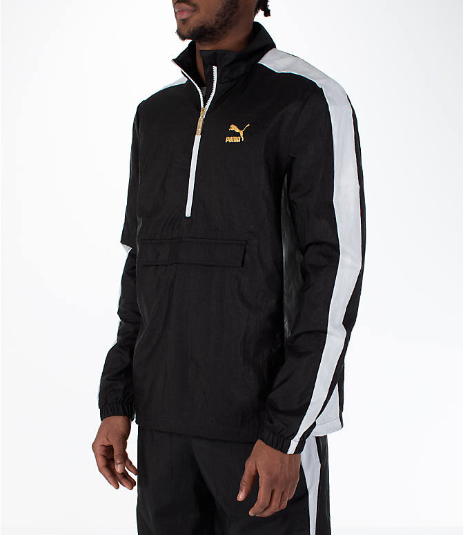 Front Three Quarter view of Men's Puma T7 BBoy Track Jacket in Black