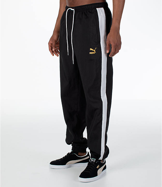 Front Three Quarter view of Men's Puma T7 BBoy Track Jogger Pants in Black
