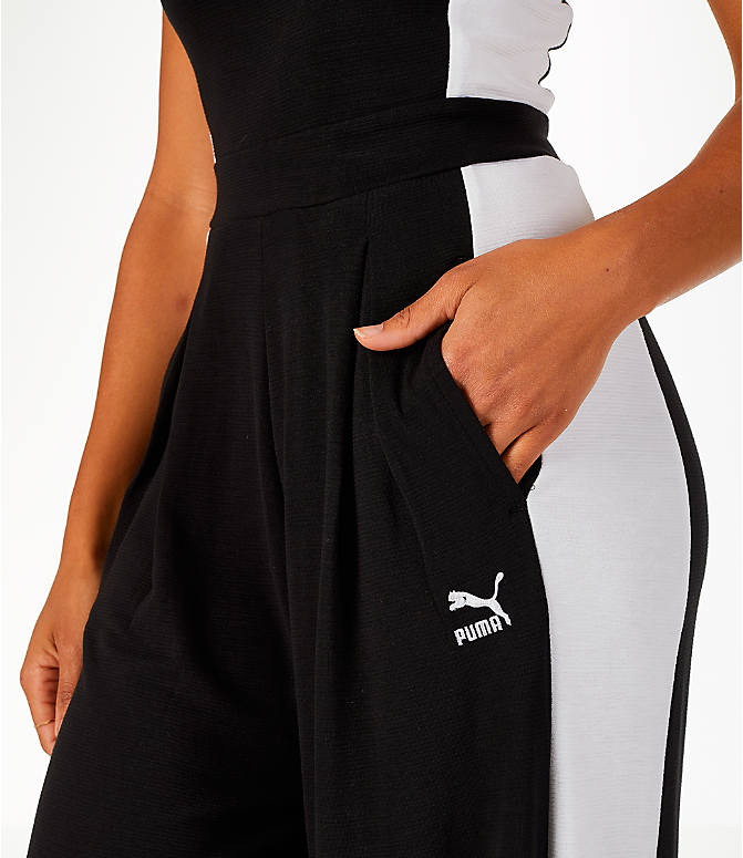 Detail 1 view of Women's Puma Archive T7 Overall Jumpsuit in Black/White