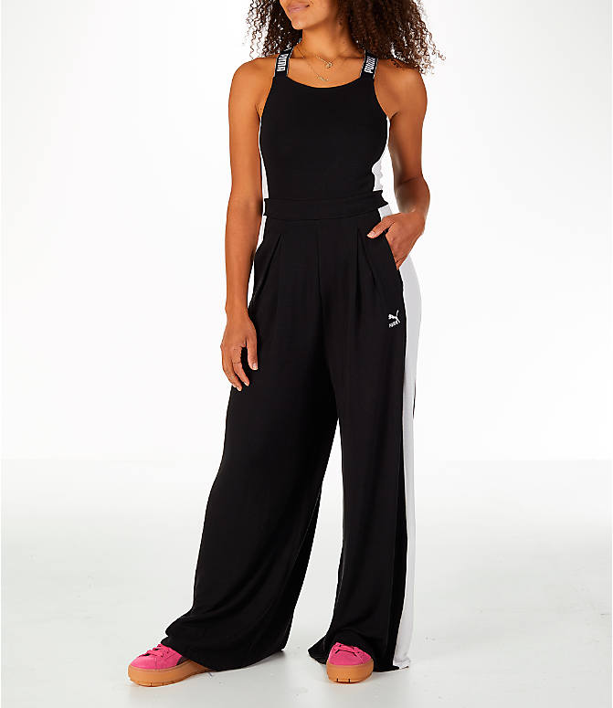 Front view of Women's Puma Archive T7 Overall Jumpsuit in Black/White