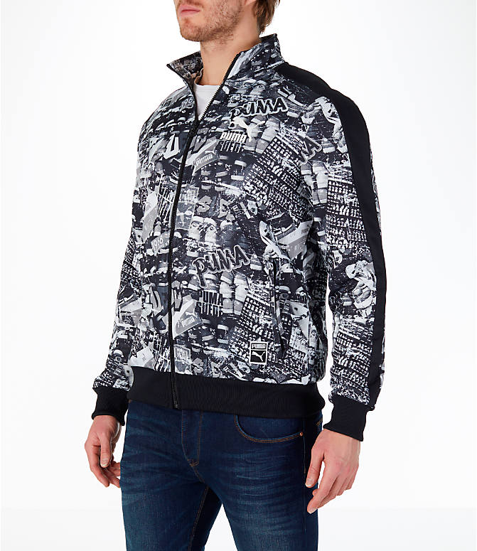 Front Three Quarter view of Men's Puma Graffitti T7 Track Jacket in Black/White