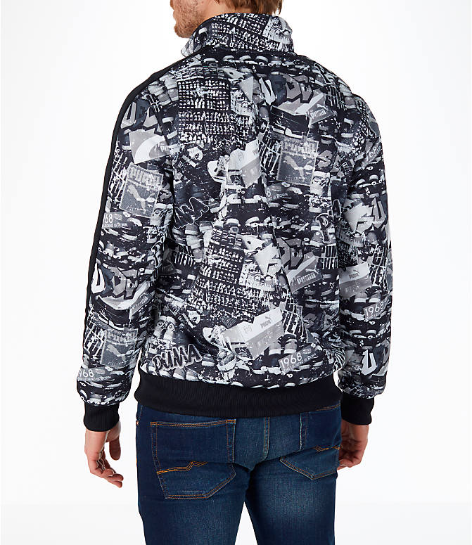 Back Left view of Men's Puma Graffitti T7 Track Jacket in Black/White